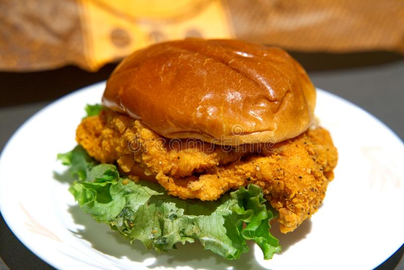 Fried Chicken Sandwich At Jollibee royalty free stock image