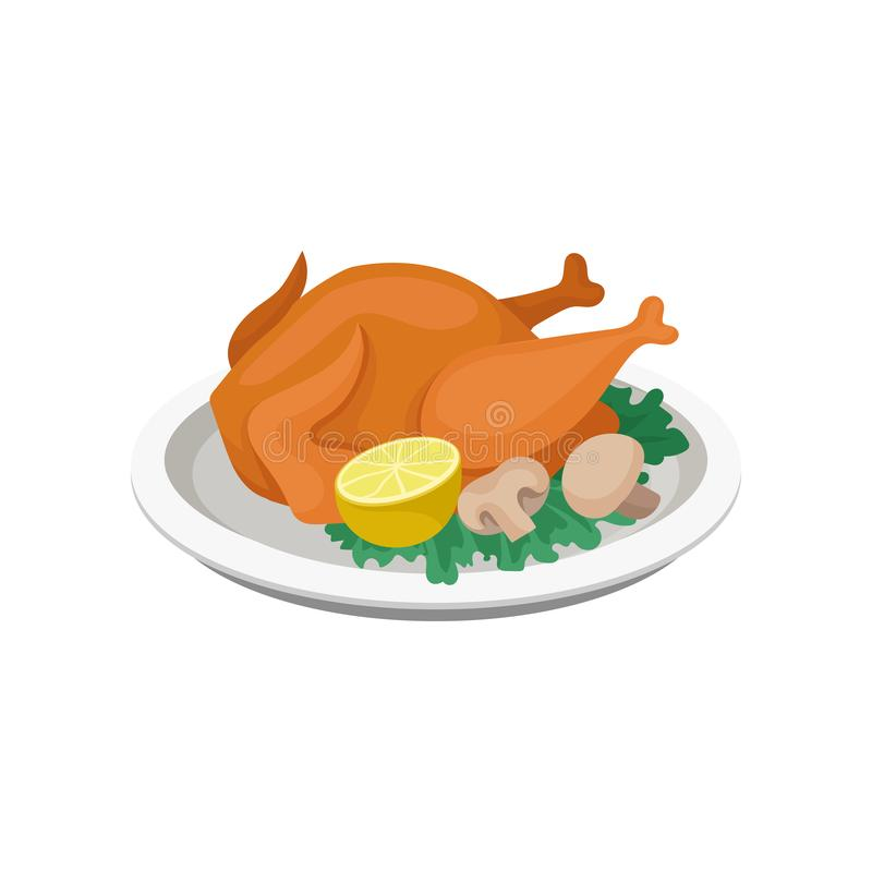 Fried chicken served with lemon, mushrooms and lettuce leaves on a plate vector Illustration on a white background vector illustration