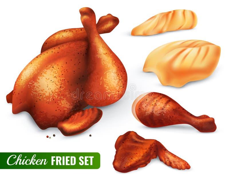 Fried Chicken Set vector illustration