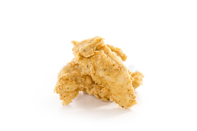 Fried Chicken Tenders. Three Freshly Fried Chicken Tenders on a White Background royalty free stock photo