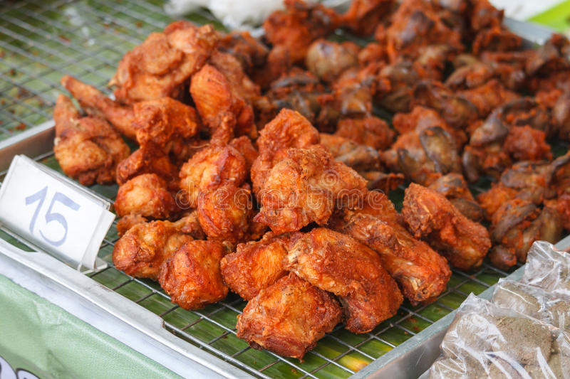 Fried Chicken. In Thai market stock photography