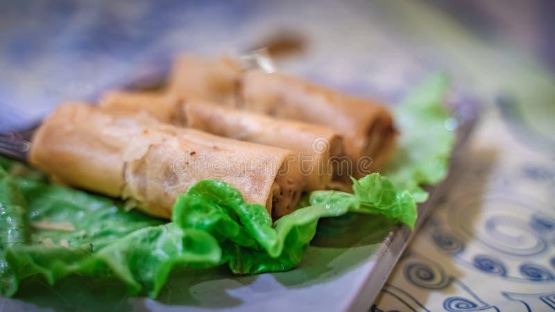 Fried Chicken And Vegetable Spring Rolls fotografering för bildbyråer