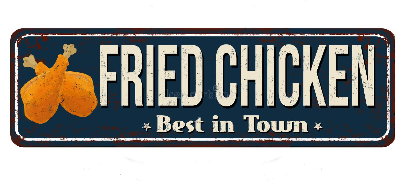 Fried chicken vintage rusty metal sign royalty free illustration