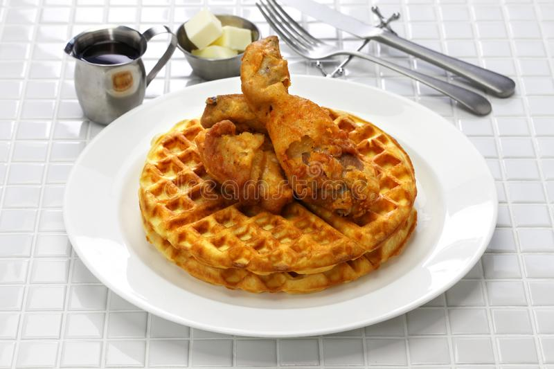 Fried chicken and waffles. American food royalty free stock photo