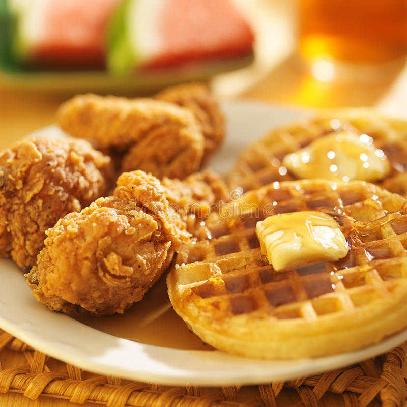 Fried chicken and waffles close up stock photos