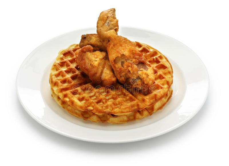 Fried chicken and waffles. American food stock image