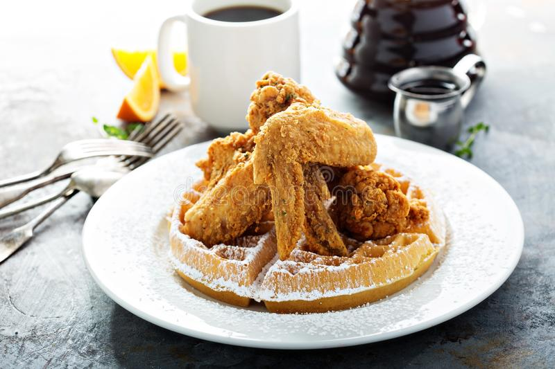 Fried chicken and waffles royalty free stock photo
