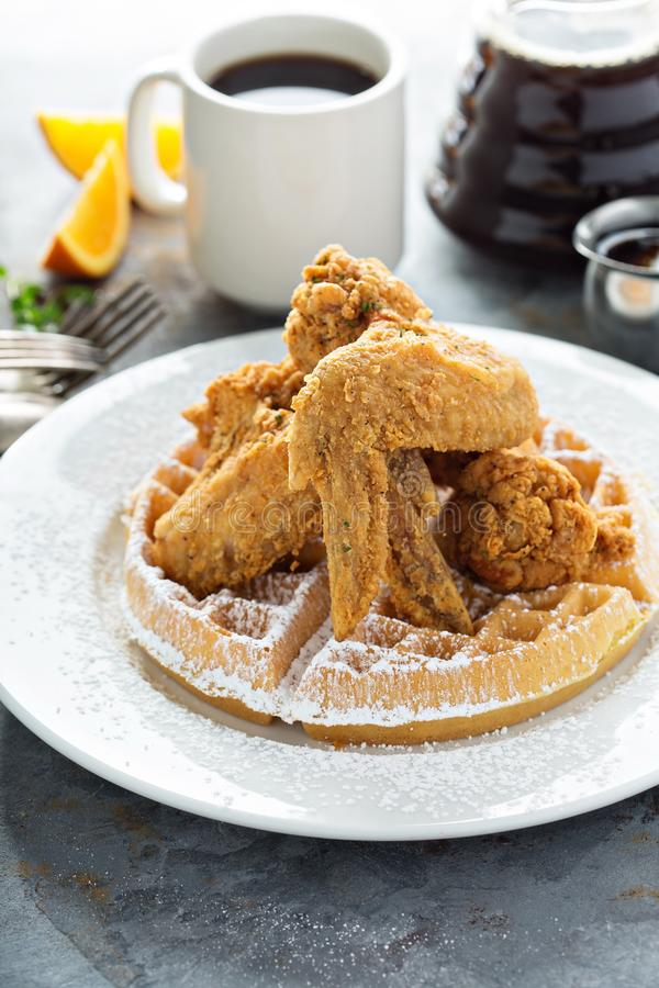 Fried chicken and waffles. Southern food concept royalty free stock images