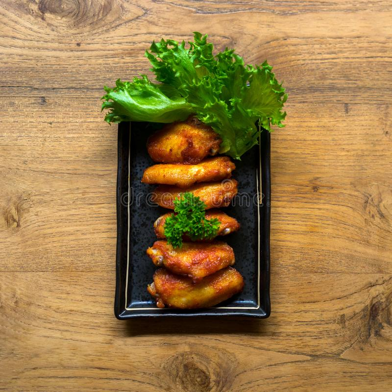 Fried chicken wing bbq,homemade cooking with chicken meat,top vi royalty free stock image