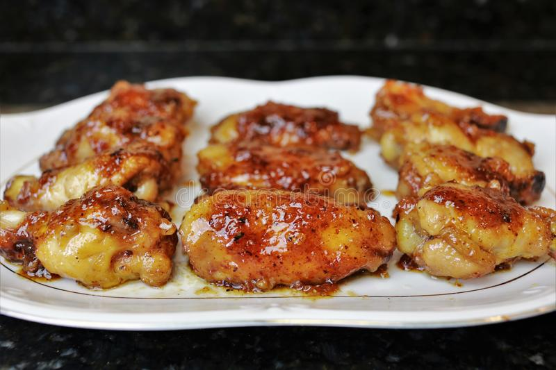 Fried chicken wings - chicken recipe royalty free stock photo