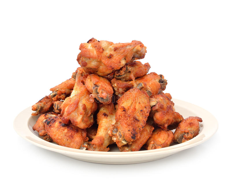 Fried Chicken Wings with Curry Sauce stock photos