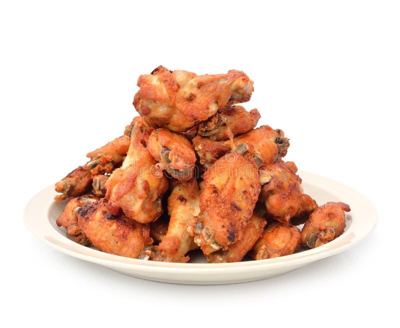 Fried Chicken Wings met Kerriesaus stock foto's