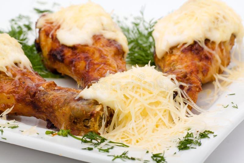 Fried Chicken Wings på vit royaltyfria foton