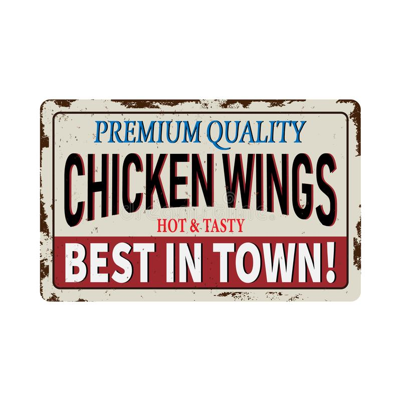 Fried chicken wings vintage rusty metal sign on a white background vector illustration