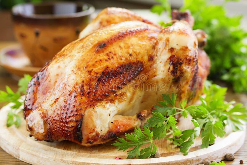 Fried chickenin. Honey glaze. festive dish stock photos