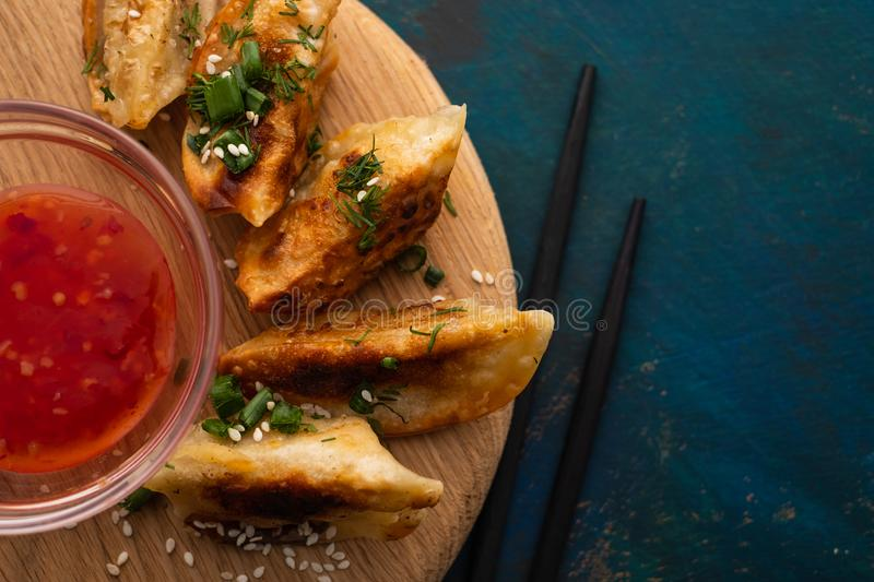Fried Chinese dumpling called Gyoza, kind of asian food royalty free stock photos