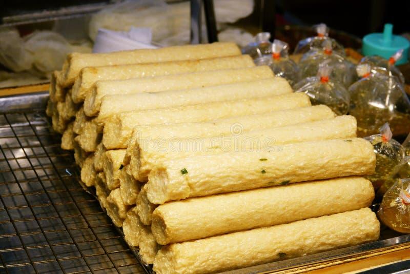 Fried chinese fish sausage stock photos