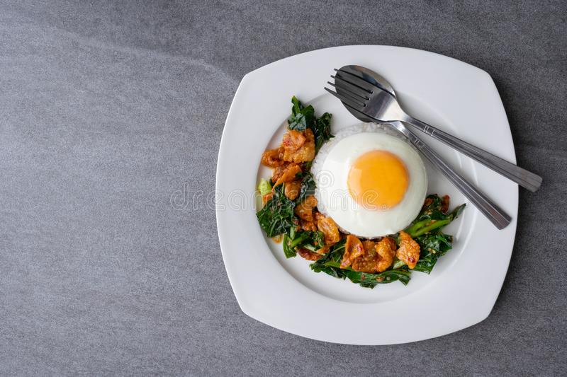 Fried Chinese kale with crispy skin chicken in oyster sauce and chilli in the white dish, fried egg, rice stock photo