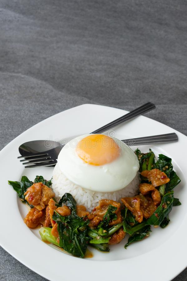 Fried Chinese kale with crispy skin chicken in oyster sauce and chilli in the white dish, fried egg, rice stock images