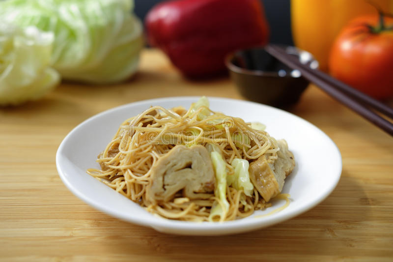 Fried Chinese noodle. With vegetable in Vegetarian festival stock photography