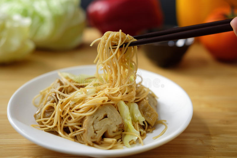 Fried Chinese noodle. With vegetable in Vegetarian festival royalty free stock photography