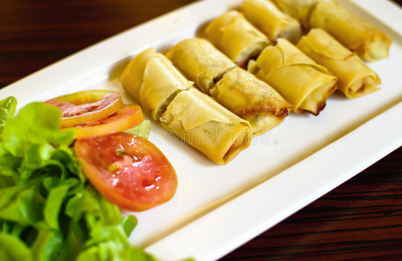 Fried Chinese Traditional Spring rolls food stock image