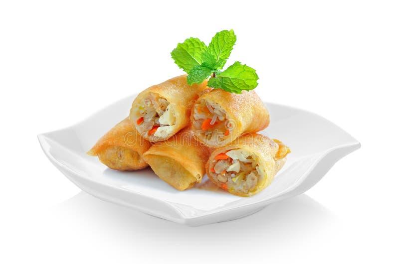 Fried Chinese Traditional Spring rollt Lebensmittel in der keramischen Platte ist lizenzfreies stockbild