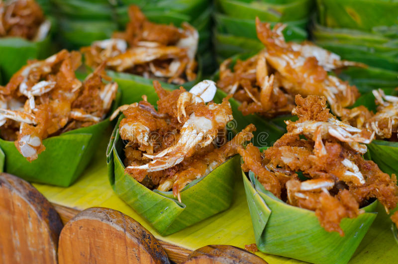 Fried crabs. At floating market, amphawa, Thailand stock images