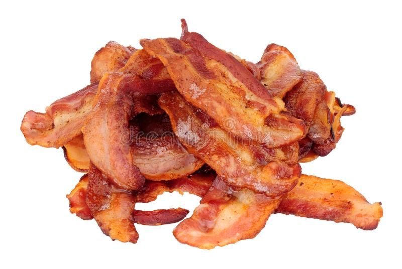 Fried Crispy Bacon Rashers Isolated no branco fotos de stock royalty free