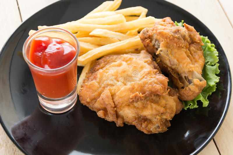 fried crispy chicken royalty free stock photography