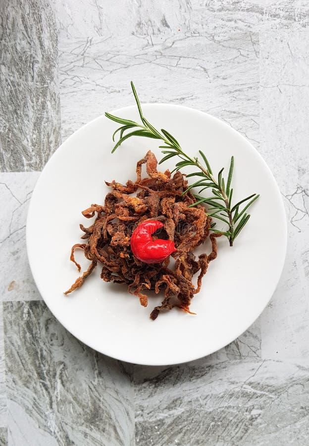 Fried crispy mushroom on White plate stock images