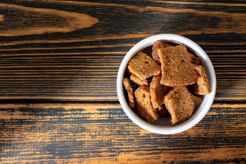 Fried croutons with garlic royalty free stock photography