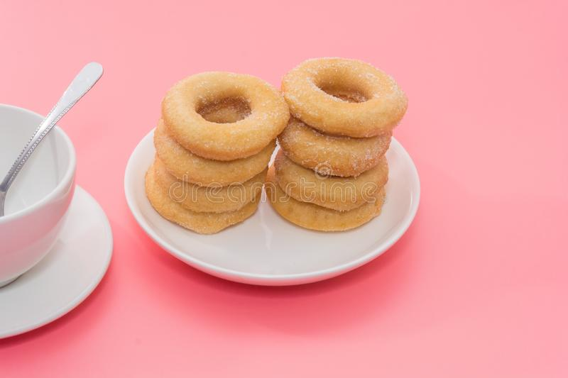 Fried Donuts with sugar topping royalty free stock photo