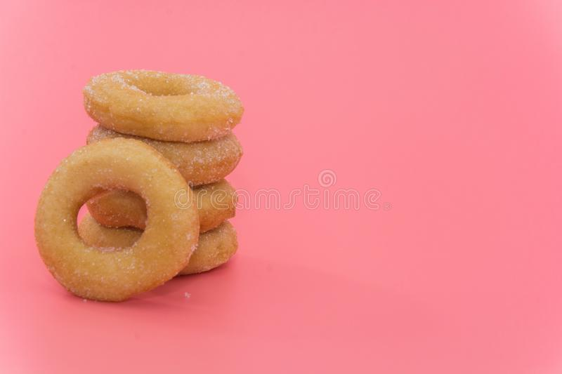 Fried Donuts with sugar topping royalty free stock photography