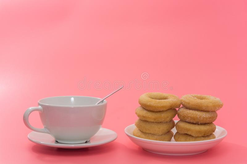 Fried Donuts with sugar topping stock image
