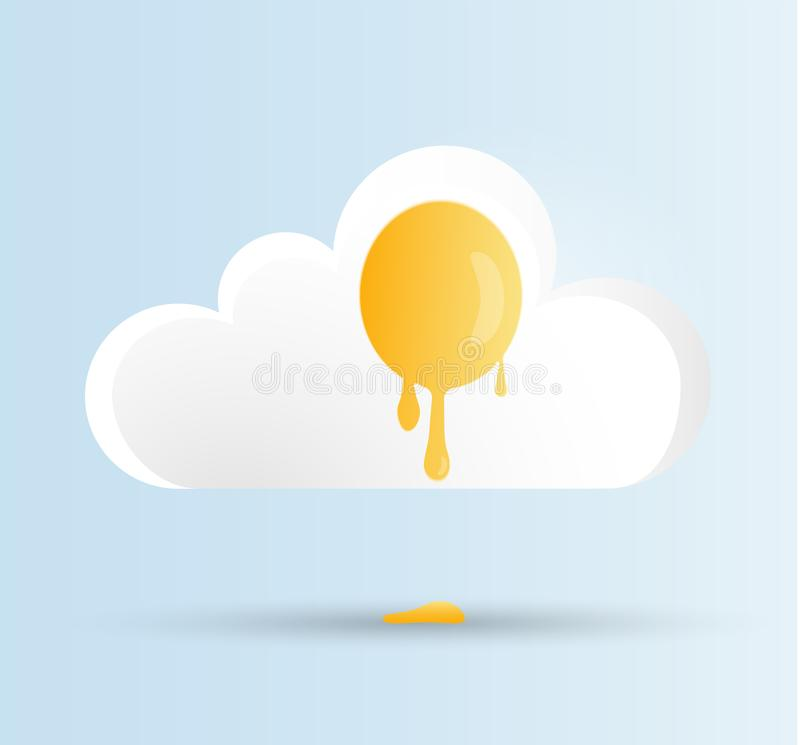 Fried dripping egg in the form of a white and yellow cloud on a blue sky background. Vector illustration for World Egg Day, Easter royalty free illustration