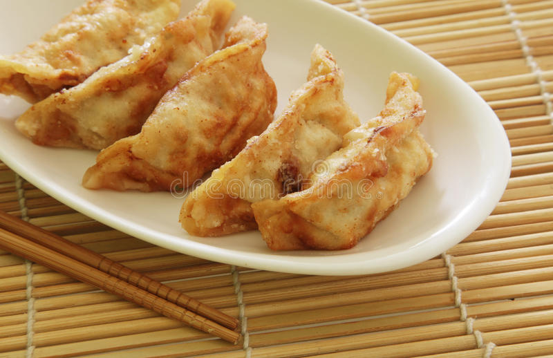 Fried Dumplings. Chinese Style Cuisine as Meal royalty free stock images