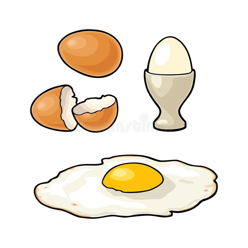 Fried egg and broken shell. Vintage color engraving illustration. For poster and label. Isolated on white background royalty free illustration