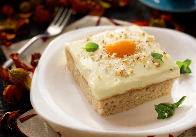 Fried egg cake. Traditional German fried egg cake known as spiegeleierkuchen royalty free stock image