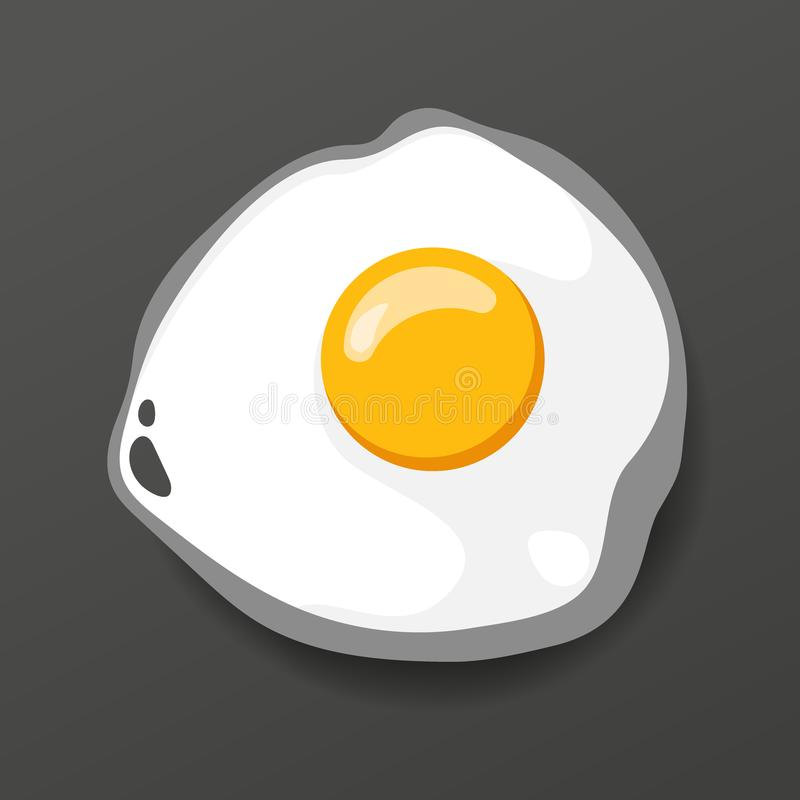 Fried egg. Cooking lunch, dinner, breakfast. Natural product. Fast food egg omelette. Cooking food scrambled egg. Vector. Fried egg. Cooking lunch, dinner and royalty free illustration