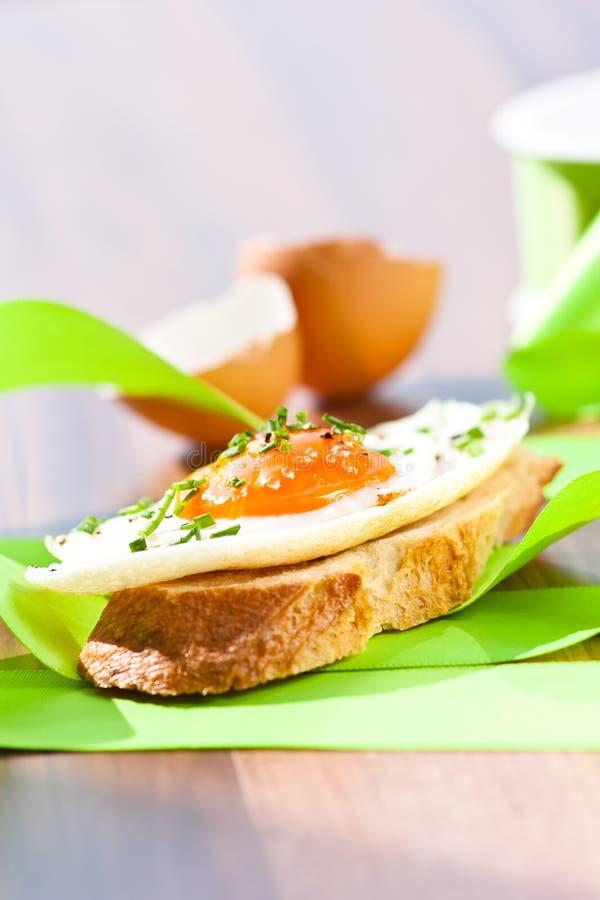Download Fried egg crostini stock photo. Image of brushetta, green - 25419794