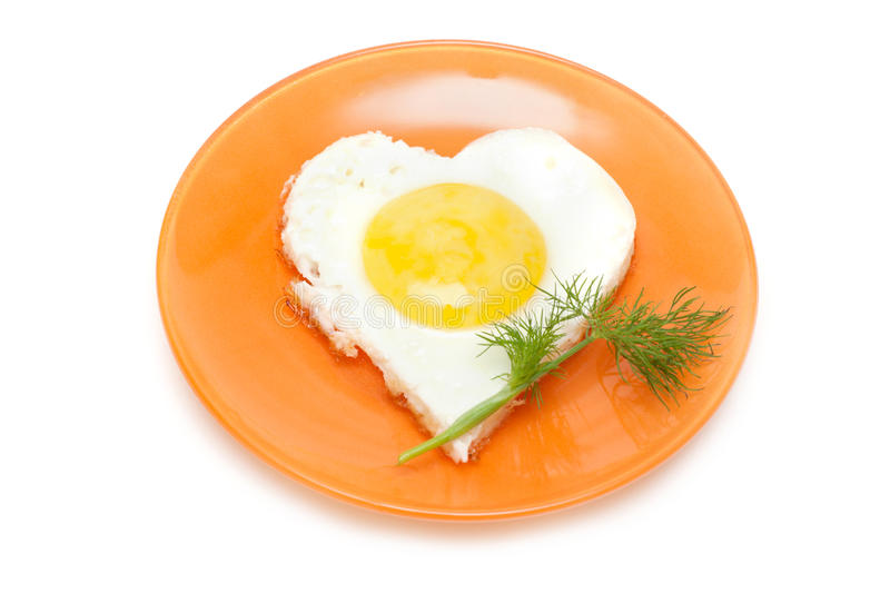 Download Fried Egg In Form Heart On Plate Stock Photo - Image: 10932476