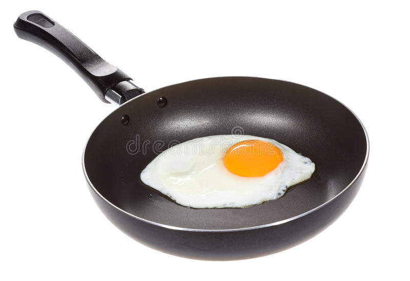 A fried egg in a frying pan royalty free stock image