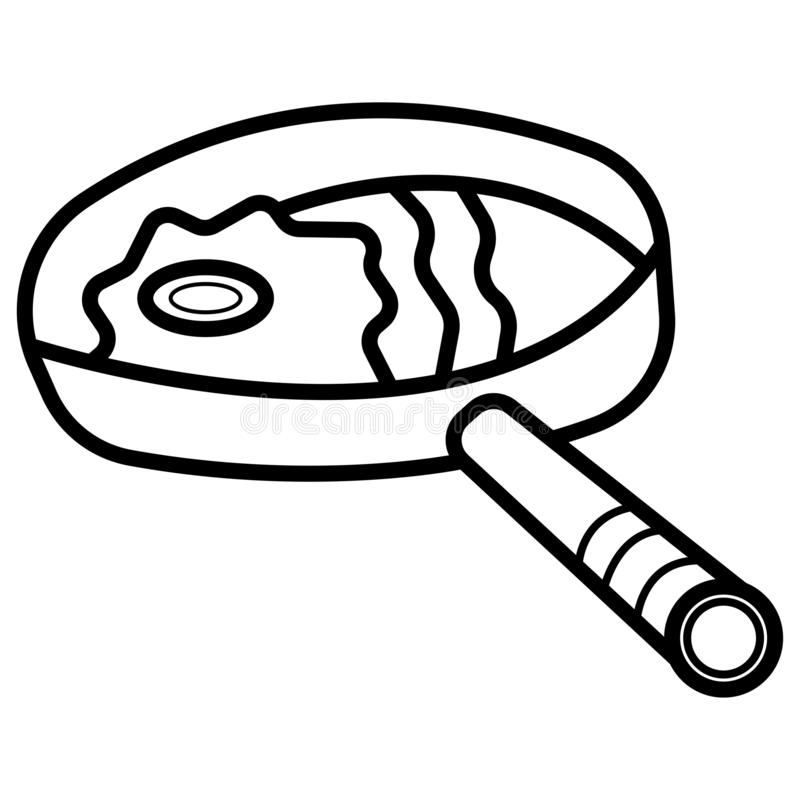 Fried egg in a frying pan vector illustration