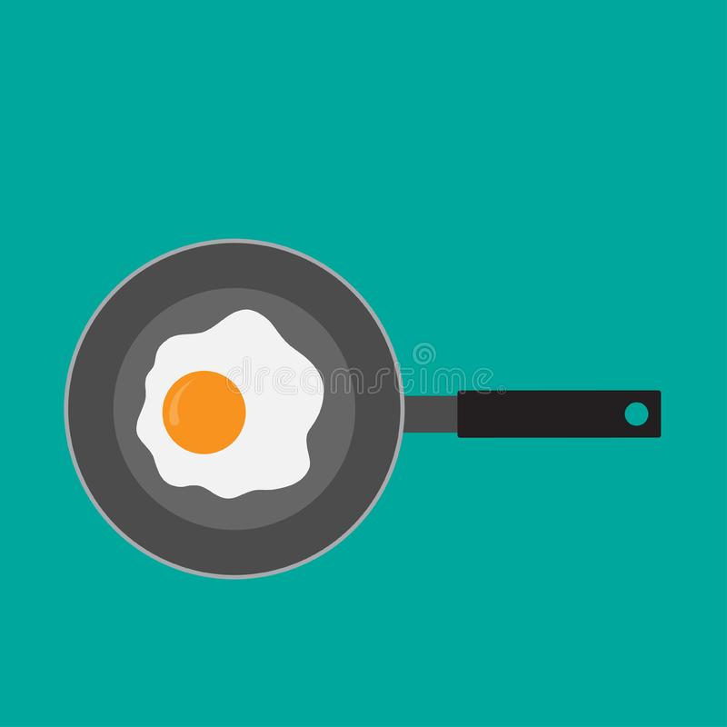 Fried egg in a frying pan. Vector design.  royalty free illustration