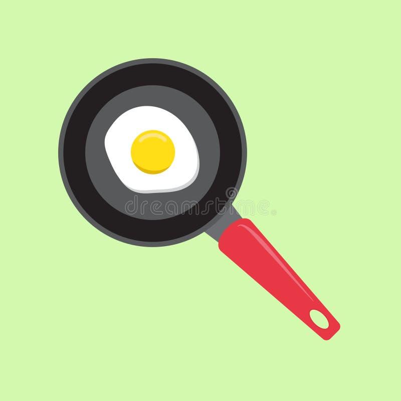 Fried egg in a frying pan vector illustration. Vector illustration isolated on blue background royalty free illustration