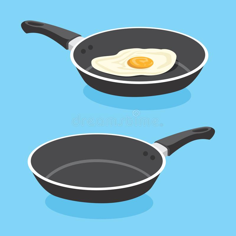 Fried Egg On Frying Pan vektorillustration royaltyfri illustrationer