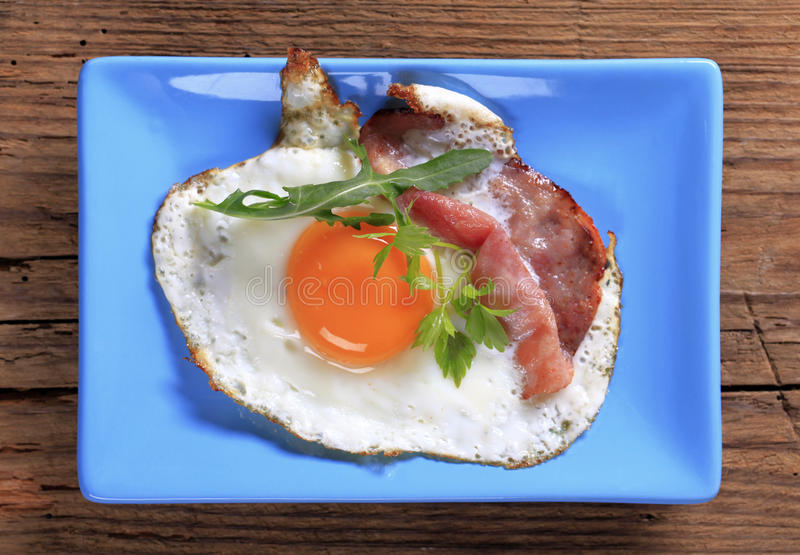 Fried Egg And Ham Stock Photos