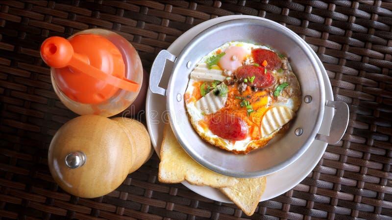 Fried Egg Pan Breakfast photo stock