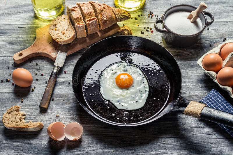 Fried egg on a pan and served with bread stock images